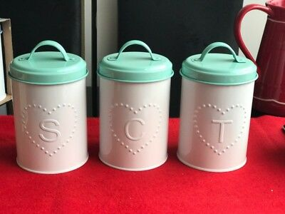 Set of 3pc New Tea Coffee Sugar Canister Tin Kitchen Storage Canisters Jars Set!
