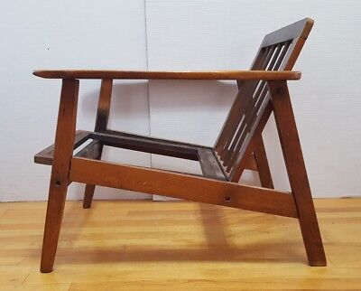 Vtg 1950's Danish Mid Century Modern Wood Lounge Club Side Arm Chair Retro MCM