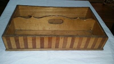 Gorgeous Vtg Marquetry Inlaid Wooden Cutlery Tray Tote Utensil Carrier Knife Box