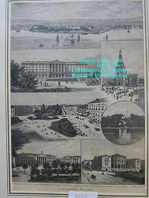 80520-Norwegen-Norway-Norge-Oslo-T Holzstich-Wood engraving