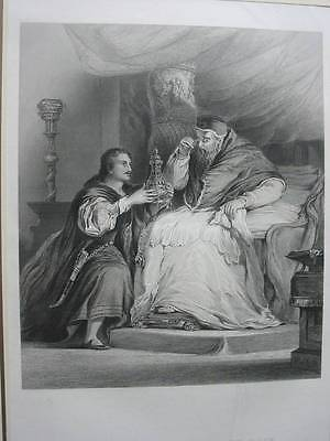 87011-Benvenuto Cellini and the Pope-Stahlstich-steel engraving
