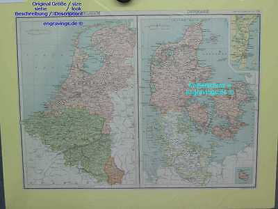 Dänemark-Denmark-Holland-Belgium-KARTE-MAP-LM-43x31 cm-Lithographie-Lithography