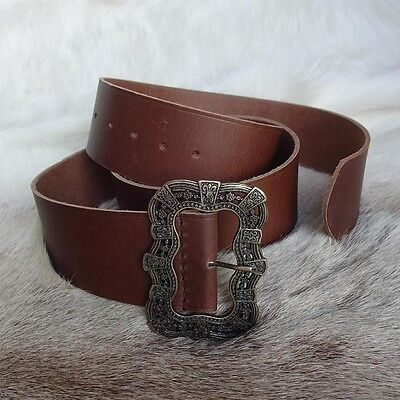 Pirates Wide Leather Long Waist Belt Perfect For Costume, Re-enactment & LARP