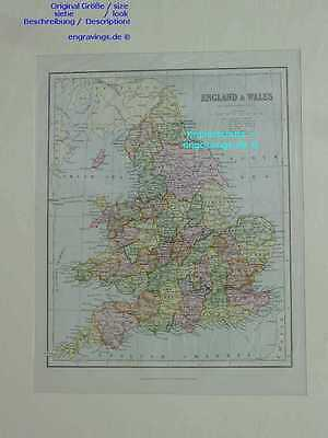 GB-UK-England-Wales-LANDKARTE-MAP-Lithographie-Lithography-1890- 26x21 cm-I6546