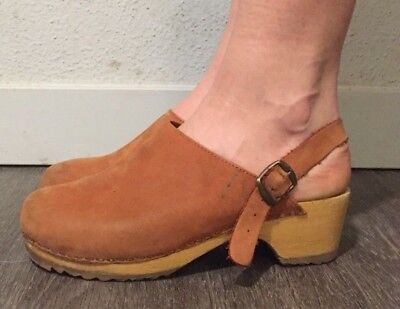 Colorado Wood Natural Nubuck Leather Clogs Ankle Strap Women's Size 38/ US Sz 7