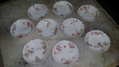 """9 Antique Theo Haviland Limoges France 3"""" Butter Pats Purple Pink Yellow Flowers"""