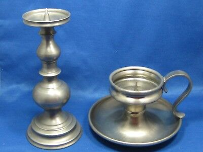 Lot of 2 Antique German  Engraved Solid  Pewter  Candle Holders Very Nice