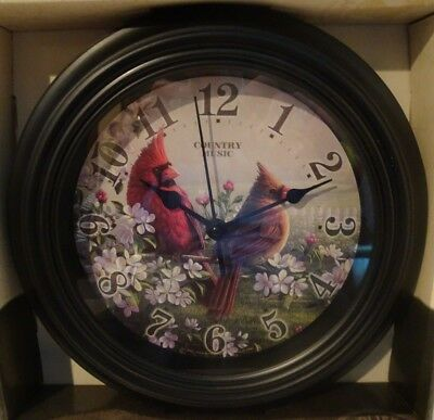 "COUNTRY MUSIC CARDINALS 10"" Wall Clock Reflective Art New in Box Ships Free"