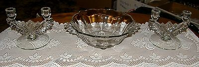 Tiffin Charleston Wings Set Of Double Candle Holders And Matching Bowl