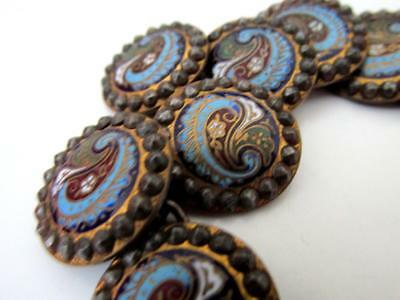 Set 12 Antique  c.1800's FRENCH CHAMPLEVE ENAMEL BUTTONS CUT STEEL  France