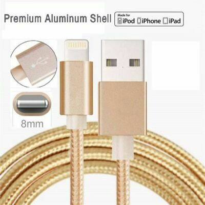 Heavy Duty Metal Braided Lightning USB Charger Cable iPhone5,6,7Plus,8,X-1,2,3 M
