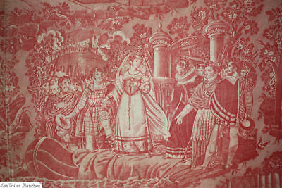 EXCEPTIONNAL antique French 18th century QUILTED coverlet toile de Rouen MADDER