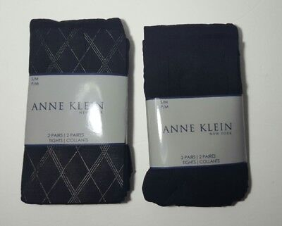 Four Pairs of Anne Klein Tights Argyle Black Size S/M