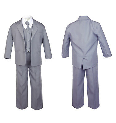 5pc-Baby-Toddler-Infant-Boy-Teen-Formal-Party-Event-Suit-Tux-Medium-Gray-Sm-20