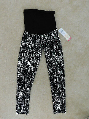 NWT oh baby by motherhood maternity L Large black white print legging