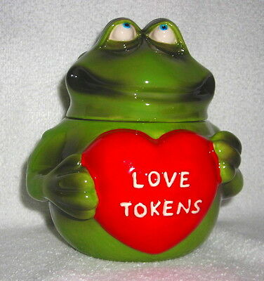 Russ Berrie - Grn Shaped Frog Holding Red Love Tokens Heart Canister/Any Use Jar