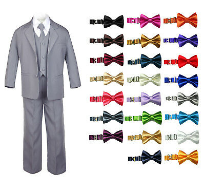 6pc Baby Toddler Boy Teen Formal Party Suit w/Satin Bow Tie Medium Gray 2T-20