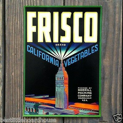 Vintage Original FRISCO CALIFORNIA VEGETABLE CRATE LABEL nos 1950's never used