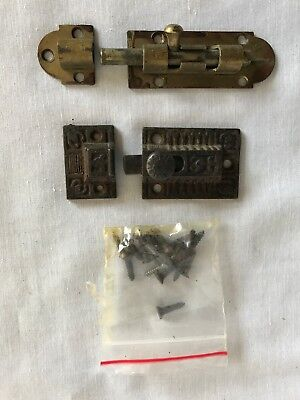 Two Different Vintage Door Slide Door Latches