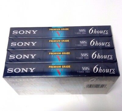 Pack of 4 SONY Premium Grade VHS T-120VE 6 Hours in EP Mode New & Sealed