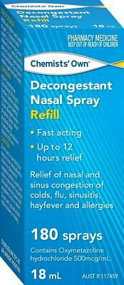 New 18ml Chemists' Own Decongestant Nasal Spray Refill Cold Flu Allergy Relief