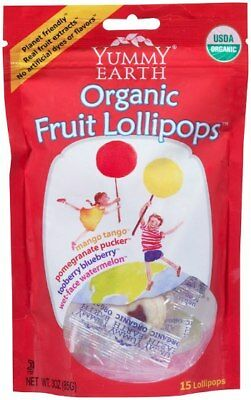 Yummy Earth Organic Lollipops Assorted Fruit 15 Pack 85g