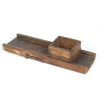 Antique slaw cutter primitive kraut cabbage wooden dovetailed box red paint
