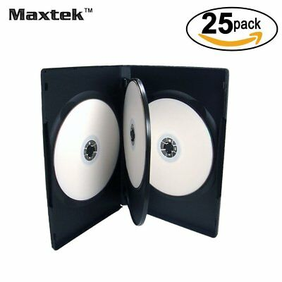 25 Pack Maxtek Standard 14mm Black Quad 4 Disc DVD Cases with Double Sided Flip
