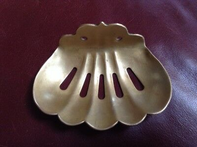 Antique Solid Brass Clamshell Soap Dish ,1907
