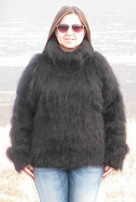 MOHAIR Hand Knitted BLACK Sweater Turtleneck Mock Fuzzy Pullover Jumper Unisex