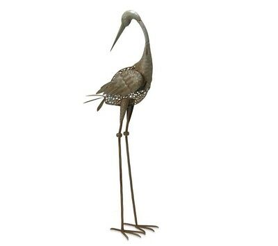 Crane Garden Accents Statue Decoration 35 Inch Steel Metal Hand Crafted Antique