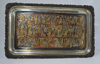 Large Vintage Egyptian Copper, Brass Inlaid Pyramid King Ancient History Frame