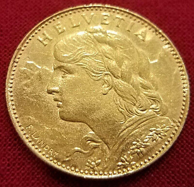 1922 Gold Switzerland 10 Francs Helvetia Coin, 96 Years Old~Gold Coin