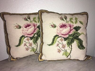 2 Rare Vintage Antique Needlepoint Pillow Pillows Pair Set Rose Roses Floral