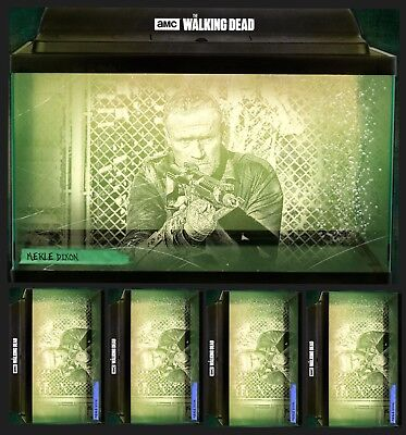 MERLE DIXON-SECRETS OF WOODBURY-GREEN+4x BLUE-TOPPS WALKING DEAD TRADER