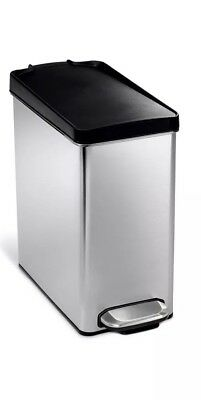 New Simplehuman Rectangular Step Garbage Trash Can Stainless Steel