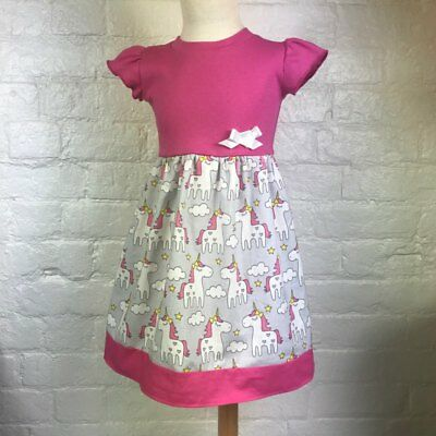 Pink & Grey Unicorn Print Baby Dress, Goth, Punk, Alternative, Rockabilly