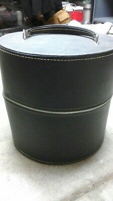 Vtg Travins USA Double Hat Wig Box Storage Luggage Zipper Closure w/ Lock & Key