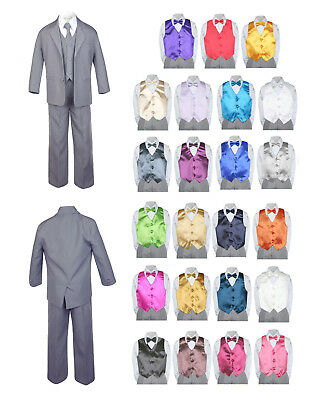 7pc Baby Toddler Boy Formal Party Medium Gray Suit w/Satin Vest & Bow Tie SM-16