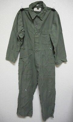 Vintage 1981 Us Army Cotton Sateen Type 1 Coveralls, Mens, Od Green, Medium