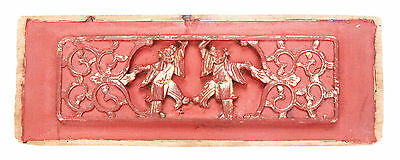 Antique Chinese Qing Carved Wood Panel Gold Gilt Women Dancers Temple China Old