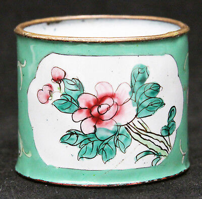 Vintage Chinese Canton Enamel Napkin Ring Flowers Republic Period China Old