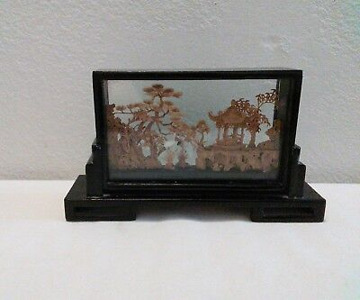 Chinese Cork Art in Glass Display Box