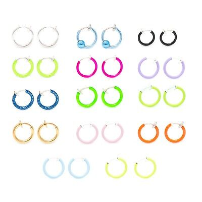 New 3 Colors Fake Spring Action Non Piercing Nose Septum//Ear Cartilage Ring
