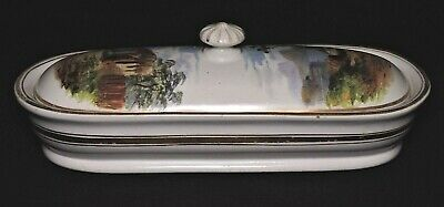 "brush holder, porcelain, unsigned, Classical landscape painting, Naples, 8"",1860"