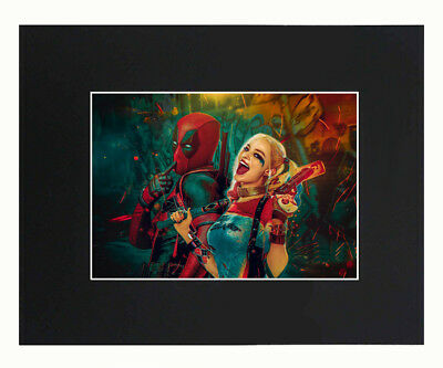 Harley Quinn And Deadpool Art Print Picture photo Display Decor 11x14 Matted