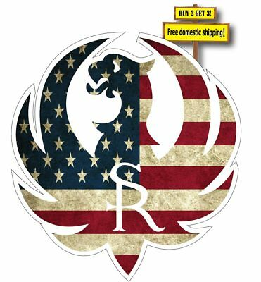 "Ruger Logo with American Flag Superimposed Decal/Sticker 3.5"" Gun Rights P24"