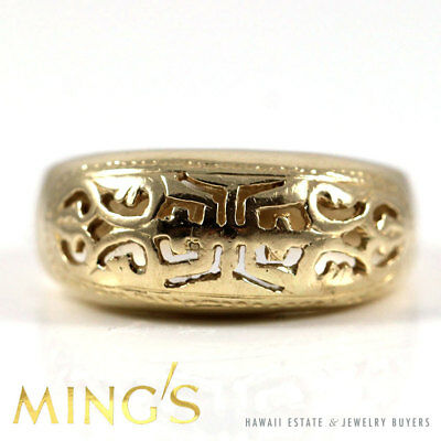 Authentic Ming's Hawaii 14K Yellow Gold Chinese Carved Band Ring Size 5.5