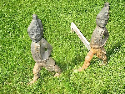 Pair Antique Figural Hessian Soldier Fireplace Andirons. Cast Iron