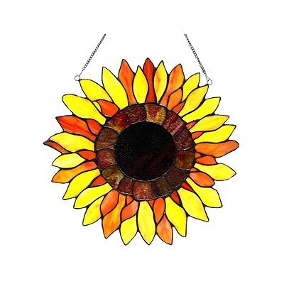 PAIR Handcrafted Sunflower Design Tiffany Style Stained Glass Window Panels
